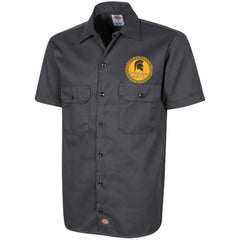 Molon Labe. Spartan Helmet. Yellow/Black. Dickies Men's Short Sleeve Workshirt. (Embroidered)