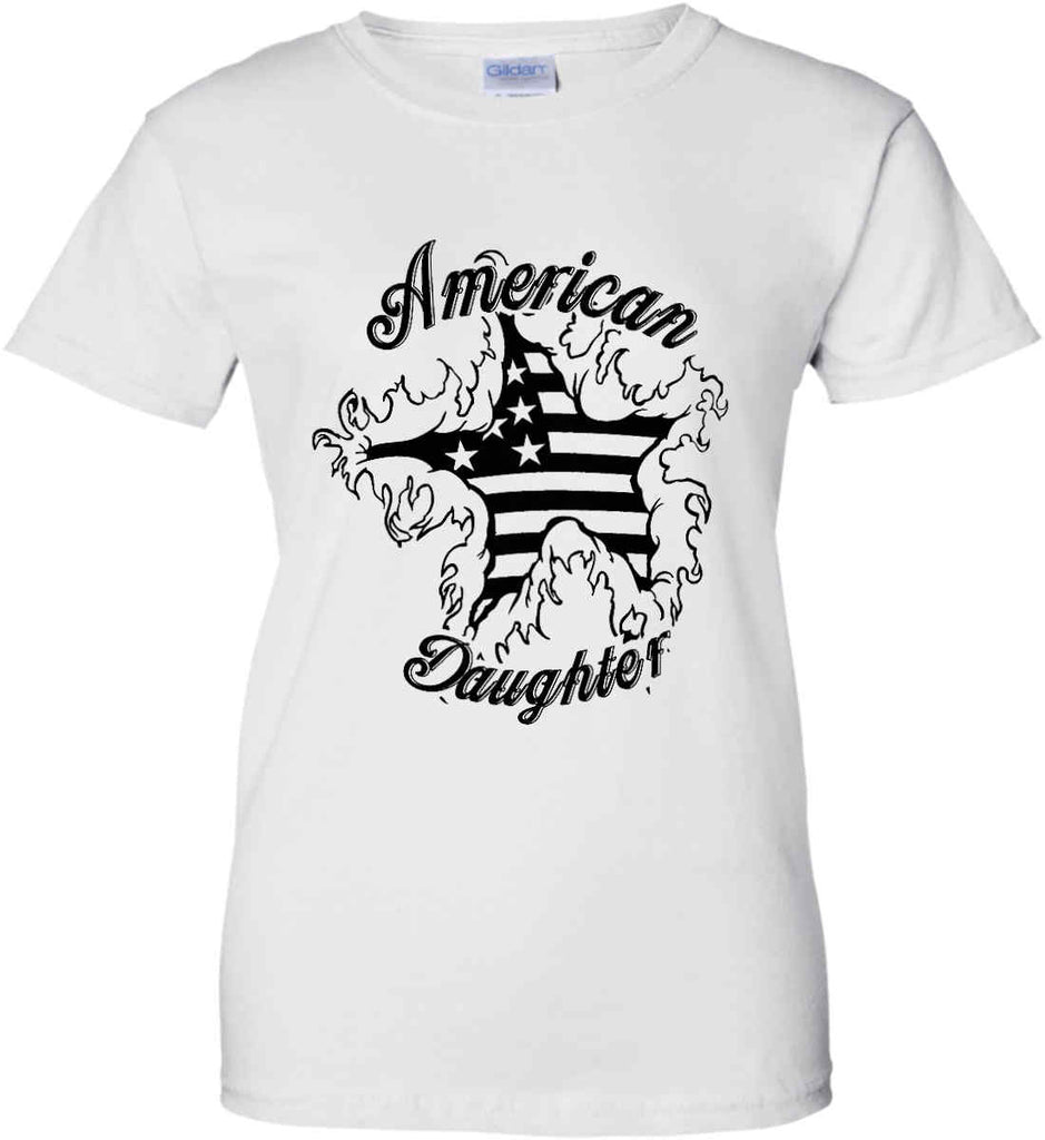 American Daughter. Women's Patriot Design. Women's: Gildan Ladies' 100% Cotton T-Shirt.-4