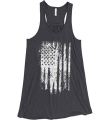 Grungy Grey USA Flag Women's: Bella + Canvas Flowy Racerback Tank.