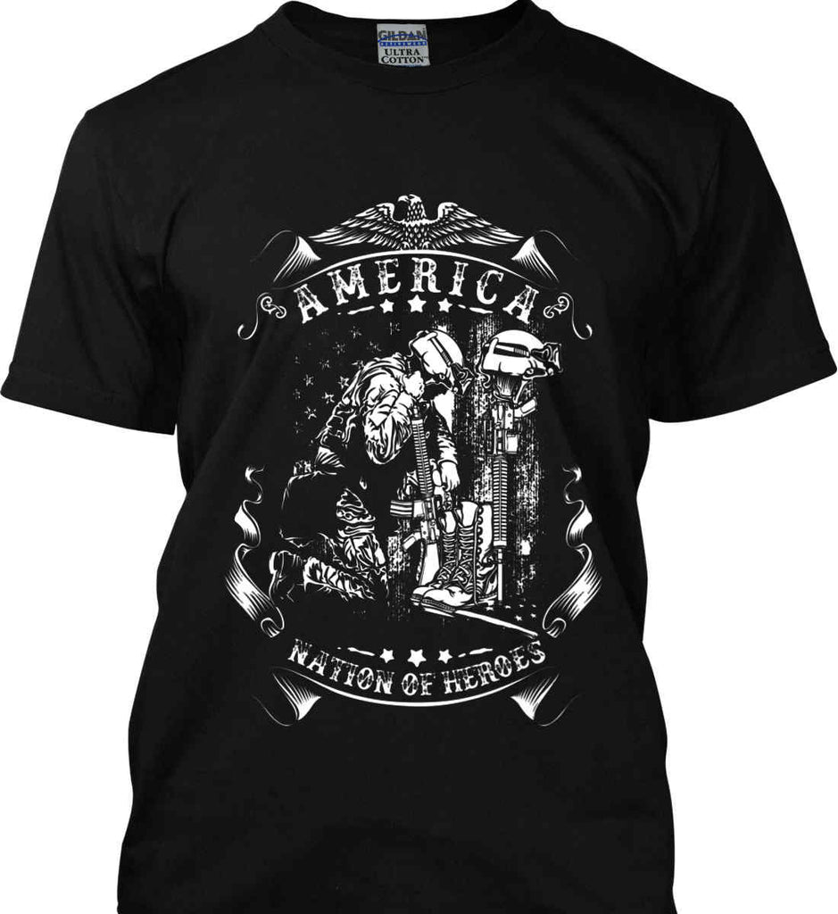 America A Nation of Heroes. Kneeling Soldier. White Print. Gildan Ultra Cotton T-Shirt.-2