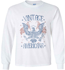 Vintage Americana Faded Grunge Gildan Ultra Cotton Long Sleeve Shirt.