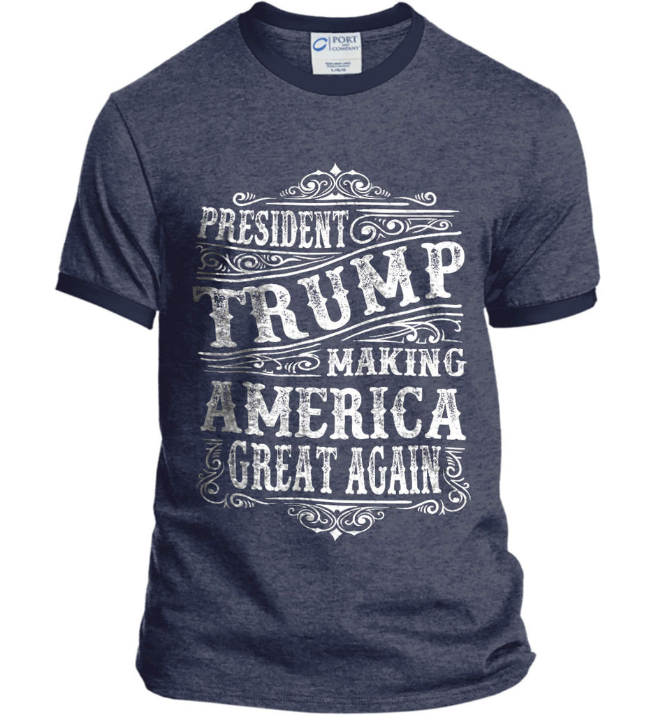 President Trump. Making America Great Again. Port and Company Ringer Tee.-5