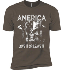 America. Love It or Leave It. White Print. Next Level Premium Short Sleeve T-Shirt.