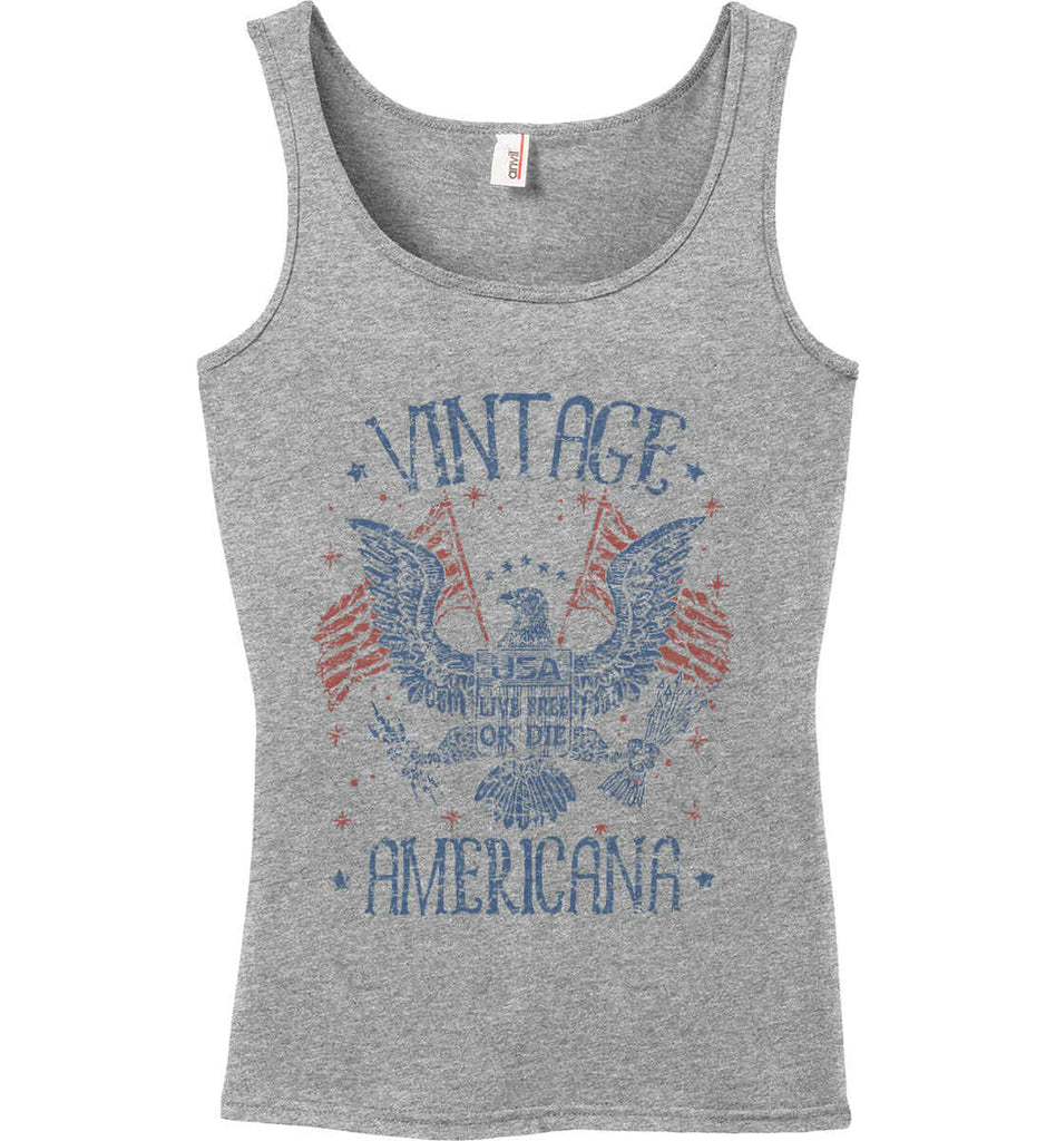 Vintage Americana Faded Grunge Women's: Anvil Ladies' 100% Ringspun Cotton Tank Top.-2