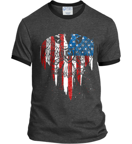 USA Eagle Flying High. Port and Company Ringer Tee.