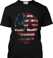 American Skull. Red, White and Blue. Port & Co. Made in the USA T-Shirt.