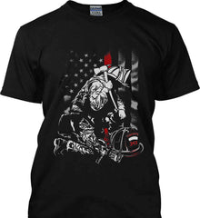 Thin Red Line. Kneeling Firefighter Ax. Gildan Ultra Cotton T-Shirt.