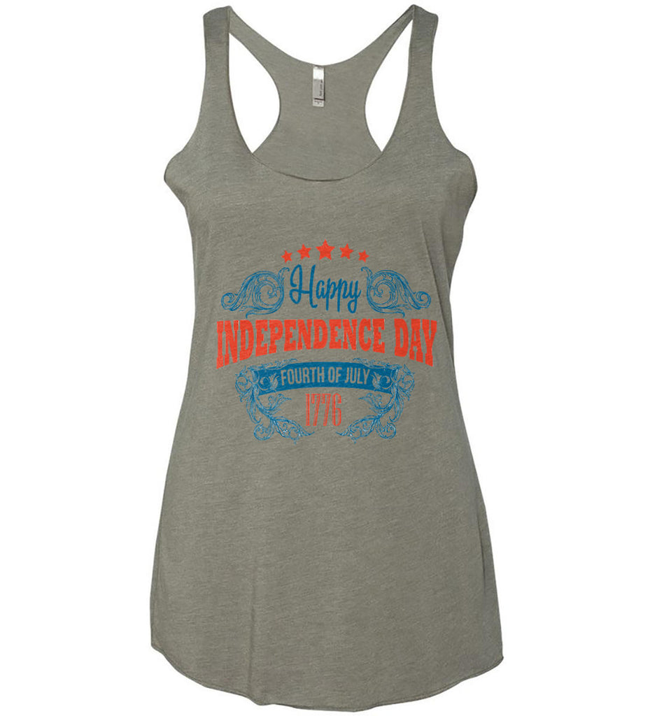Happy Independence Day. Fourth of July. 1776. Women's: Next Level Ladies Ideal Racerback Tank.-1