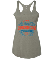 Happy Independence Day. Fourth of July. 1776. Women's: Next Level Ladies Ideal Racerback Tank.