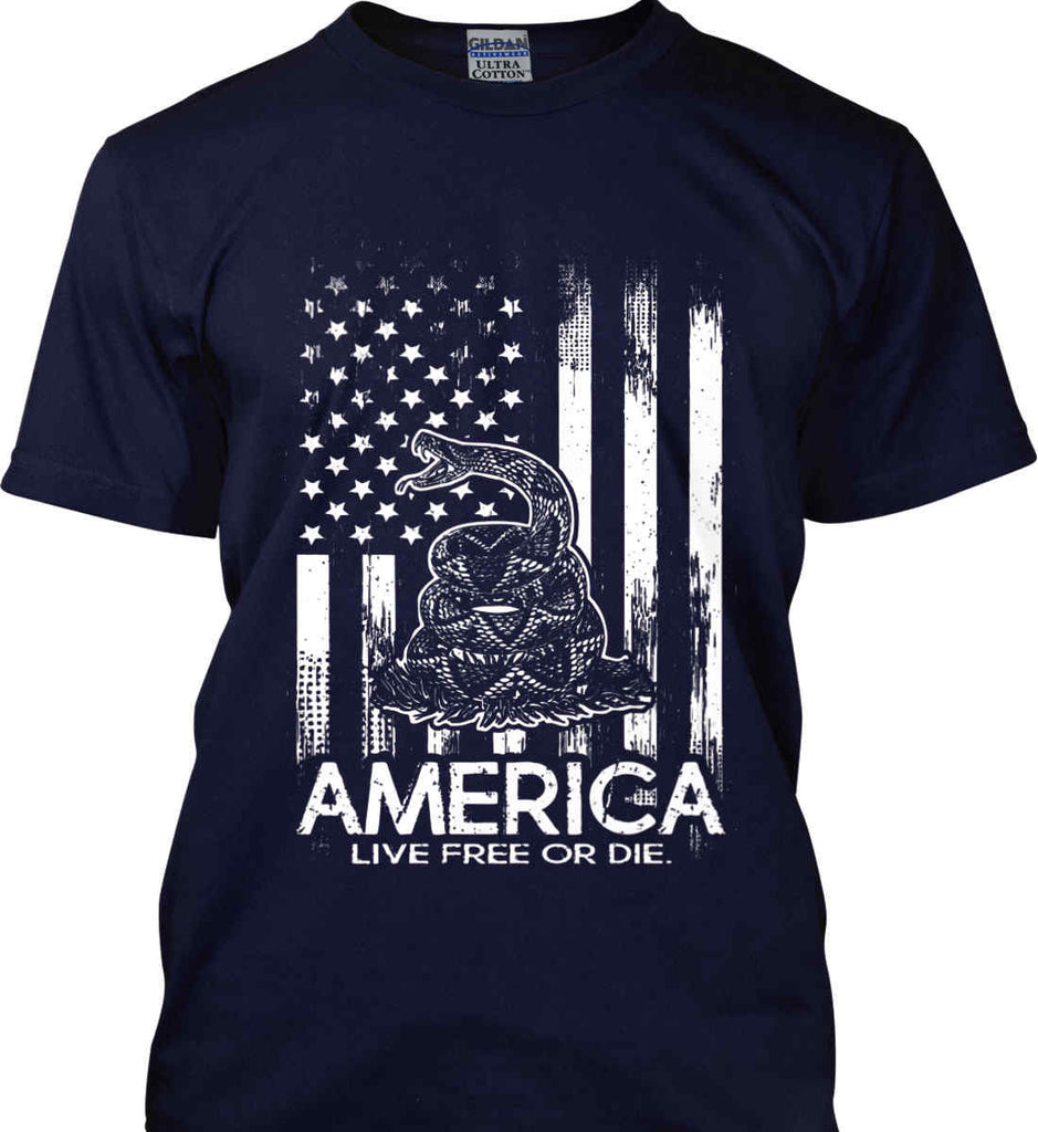 America. Live Free or Die. Don't Tread on Me. White Print. Gildan Ultra Cotton T-Shirt.-5