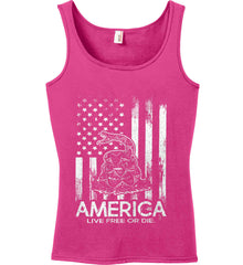 America. Live Free or Die. Don't Tread on Me. White Print. Women's: Anvil Ladies' 100% Ringspun Cotton Tank Top.