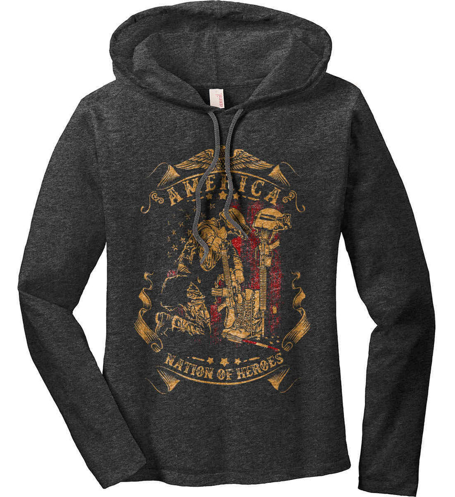 America A Nation of Heroes. Kneeling Soldier. Women's: Anvil Ladies' Long Sleeve T-Shirt Hoodie.-1