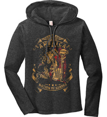 America A Nation of Heroes. Kneeling Soldier. Women's: Anvil Ladies' Long Sleeve T-Shirt Hoodie.