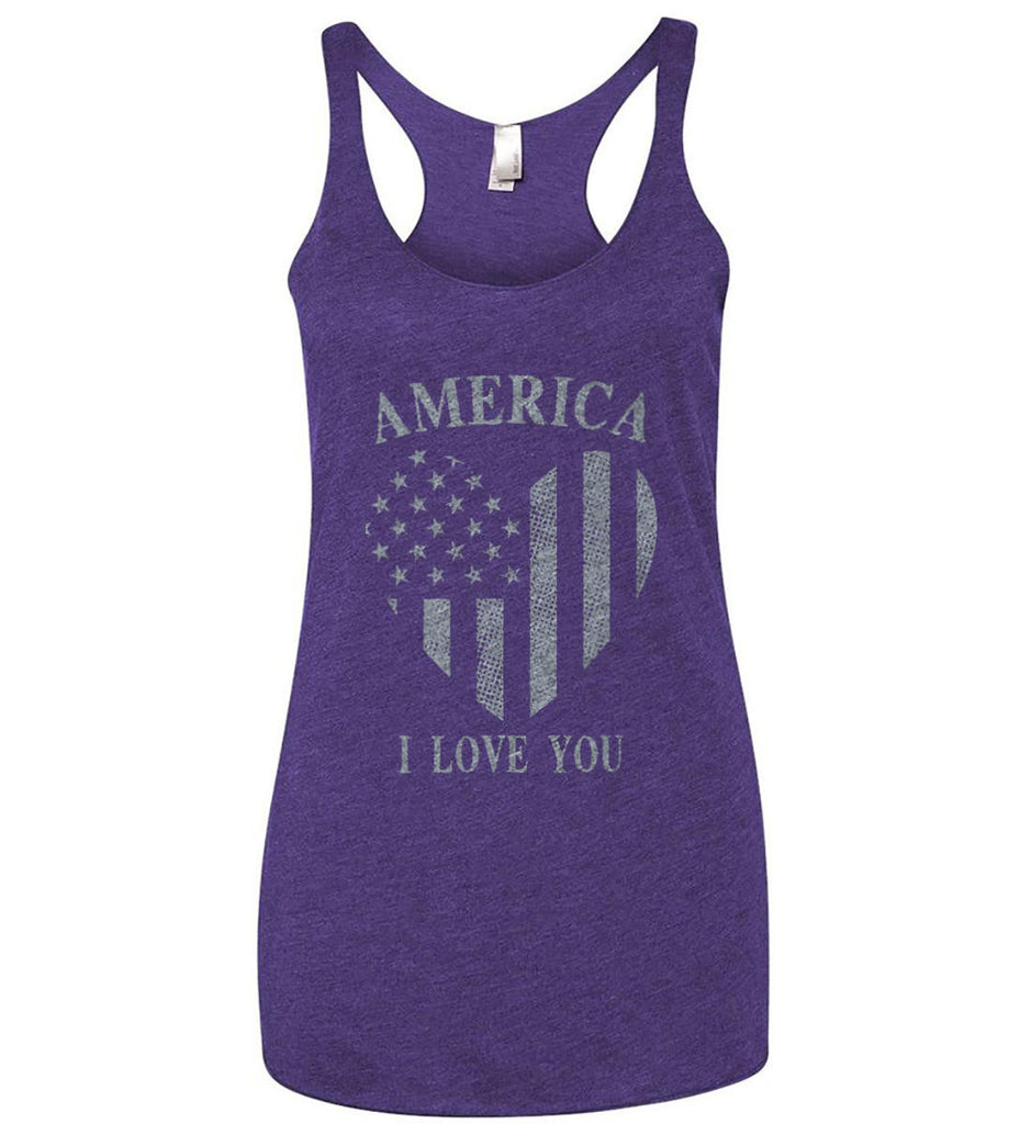 America I Love You Women's: Next Level Ladies Ideal Racerback Tank.-4