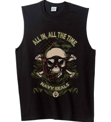All In, All The Time. Navy Seals. Gildan Men's Ultra Cotton Sleeveless T-Shirt.