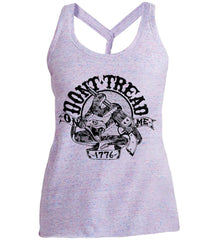 Don't Tread on Me: 1776. Black Print. Women's: District Made Ladies Cosmic Twist Back Tank.