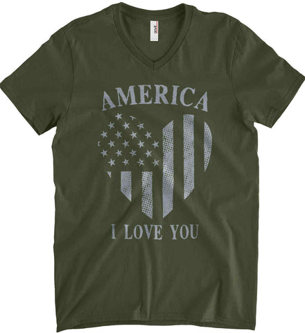 America I Love You Anvil Men's Printed V-Neck T-Shirt.