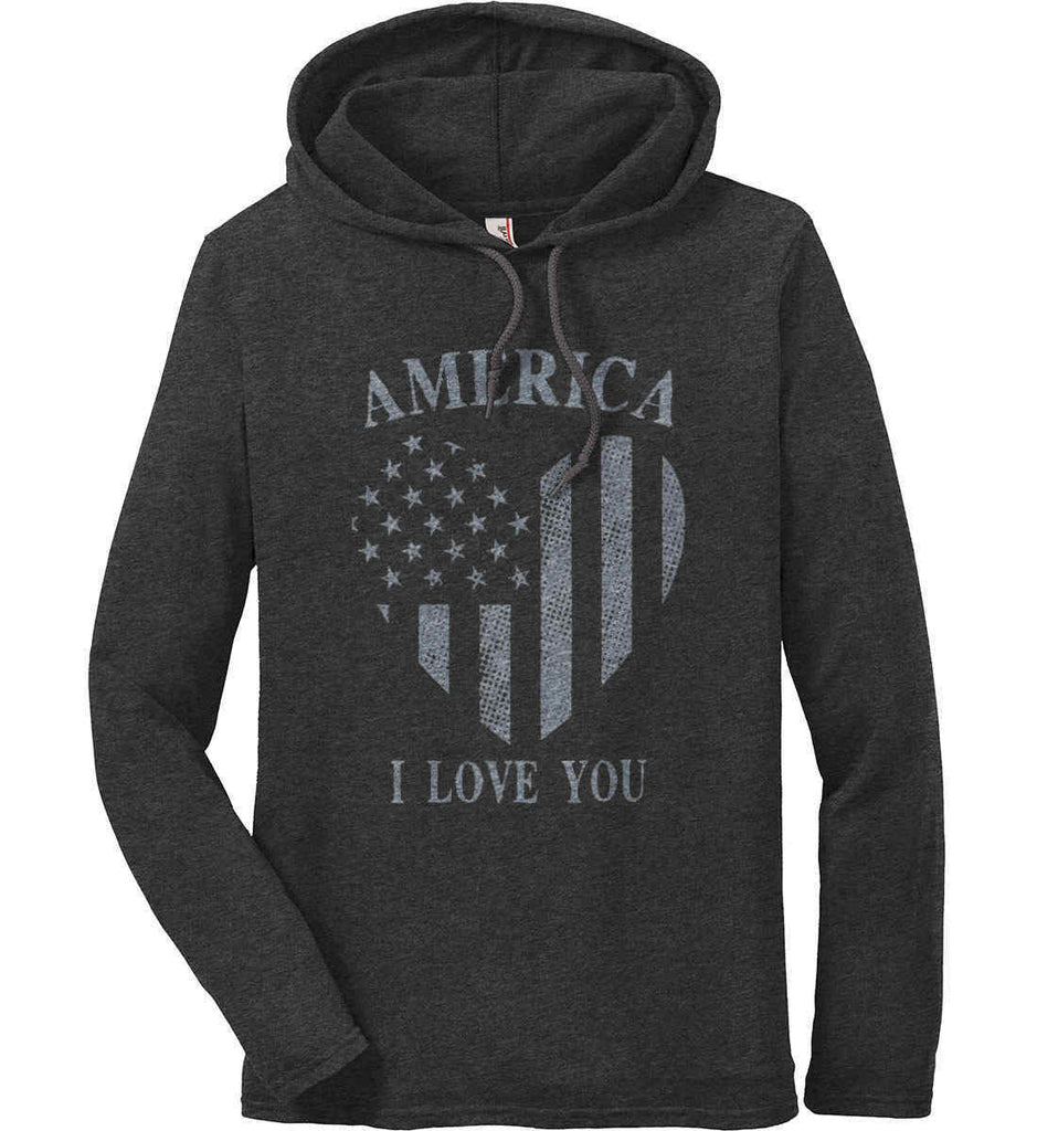 America I Love You Anvil Long Sleeve T-Shirt Hoodie.-2