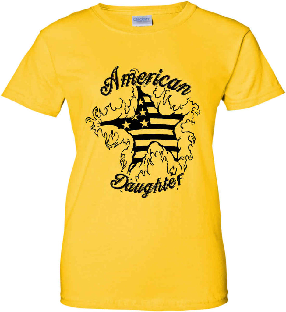 American Daughter. Women's Patriot Design. Women's: Gildan Ladies' 100% Cotton T-Shirt.-5