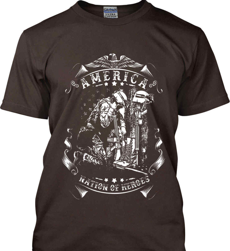 America A Nation of Heroes. Kneeling Soldier. White Print. Gildan Ultra Cotton T-Shirt.-10