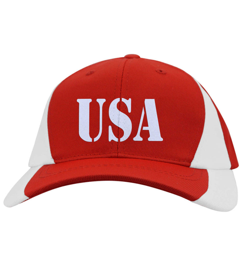 USA Patriot Hat Sport-Tek Mid-Profile Colorblock Cap. (Embroidered)-7
