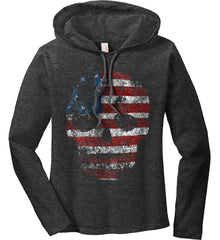 American Skull. Red, White and Blue. Women's: Anvil Ladies' Long Sleeve T-Shirt Hoodie.