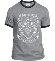 America. Great Again. White Print. Port and Company Ringer Tee.