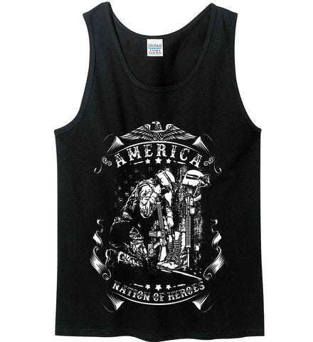 America A Nation of Heroes. Kneeling Soldier. White Print. Gildan 100% Cotton Tank Top.