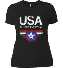 USA All Day Everyday. Women's: Next Level Ladies' Boyfriend (Girly) T-Shirt.
