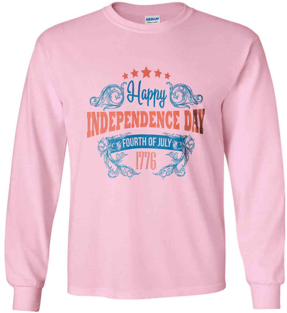 Happy Independence Day. Fourth of July. 1776. Gildan Ultra Cotton Long Sleeve Shirt.-6