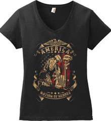 America A Nation of Heroes. Kneeling Soldier. Women's: Anvil Ladies' V-Neck T-Shirt.