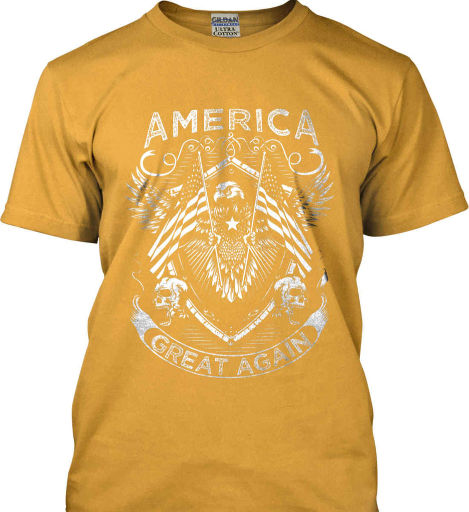 America. Great Again. White Print. Gildan Ultra Cotton T-Shirt.-5