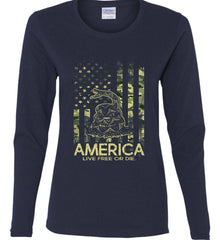America. Live Free or Die. Don't Tread on Me. Camo. Women's: Gildan Ladies Cotton Long Sleeve Shirt.