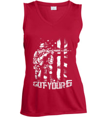 Got Your Six. Soldier Flag. White Print. Women's: Sport-Tek Ladies' Sleeveless Moisture Absorbing V-Neck.