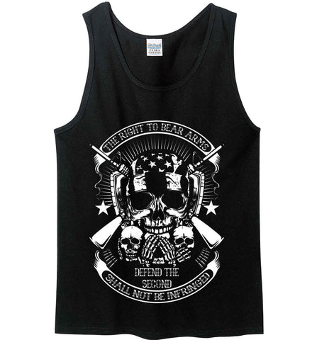 The Right to Bear Arms. Shall Not Be Infringed. Since 1791. White Print. Gildan 100% Cotton Tank Top.