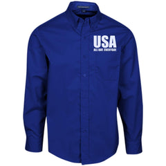 USA. All Day. Everyday. White Text. Port Authority Men's LS Dress Shirt. (Embroidered)