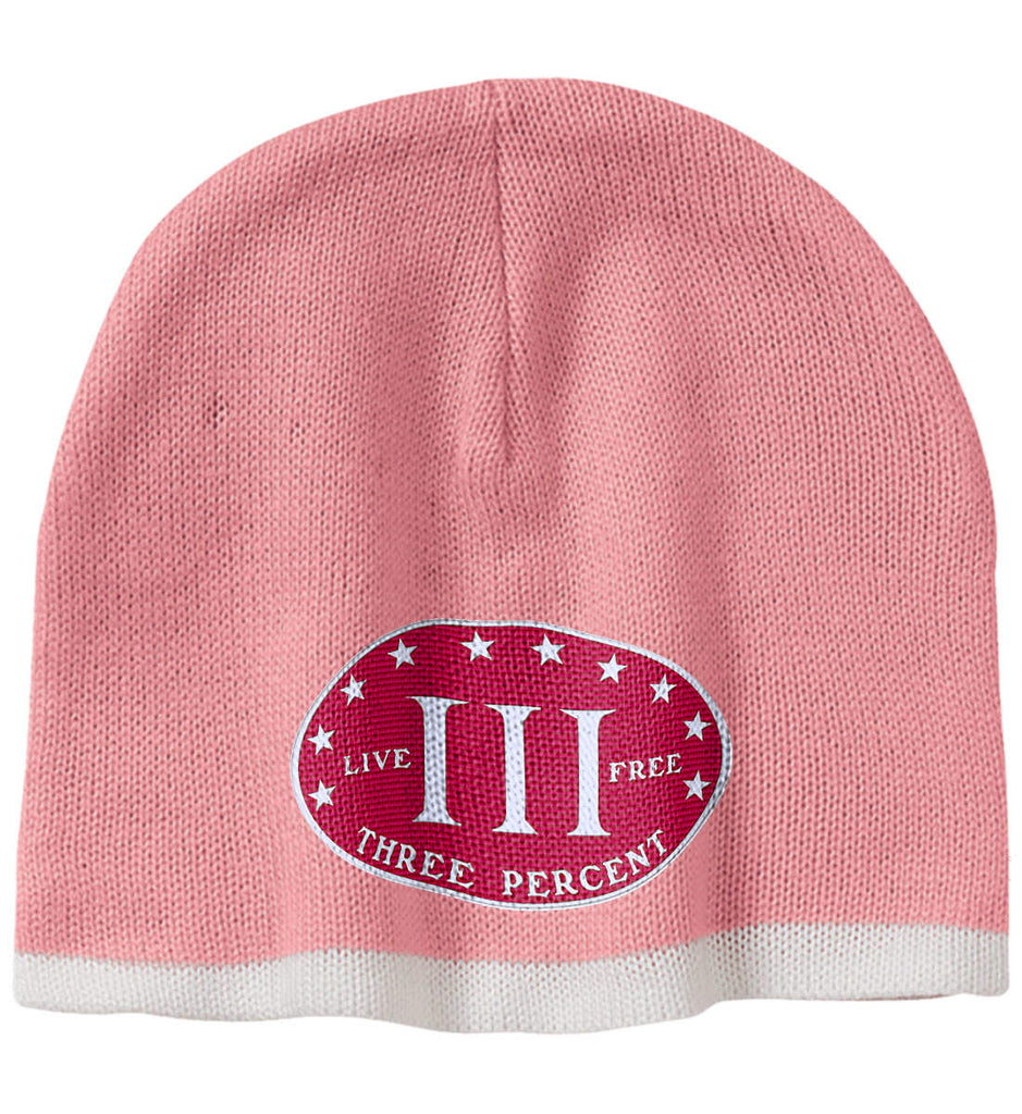 Three Percenter. Live Free. Hat. 100% Acrylic Beanie. (Embroidered)-4