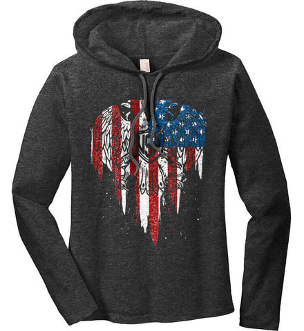 USA Eagle Flying High. Women's: Anvil Ladies' Long Sleeve T-Shirt Hoodie.