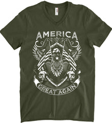America. Great Again. White Print. Anvil Men's Printed V-Neck T-Shirt.