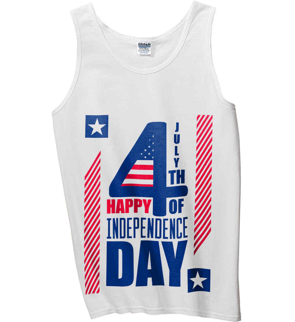 4th of July with Stars and Stripes. Gildan 100% Cotton Tank Top.-1