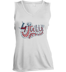 July 4th Red, White and Blue. Women's: Sport-Tek Ladies' Sleeveless Moisture Absorbing V-Neck.