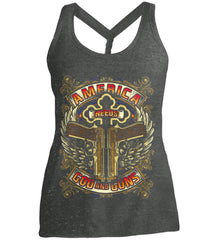 America Needs God and Guns. Women's: District Made Ladies Cosmic Twist Back Tank.