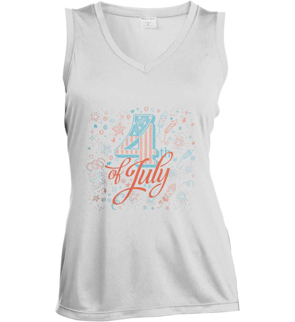 4th of July. Stars and Rockets. Women's: Sport-Tek Ladies' Sleeveless Moisture Absorbing V-Neck.-1