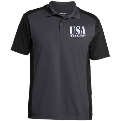 USA. Proud Patriot. Sport-Tek Men's Colorblock Sport-Wick Polo. (Embroidered)