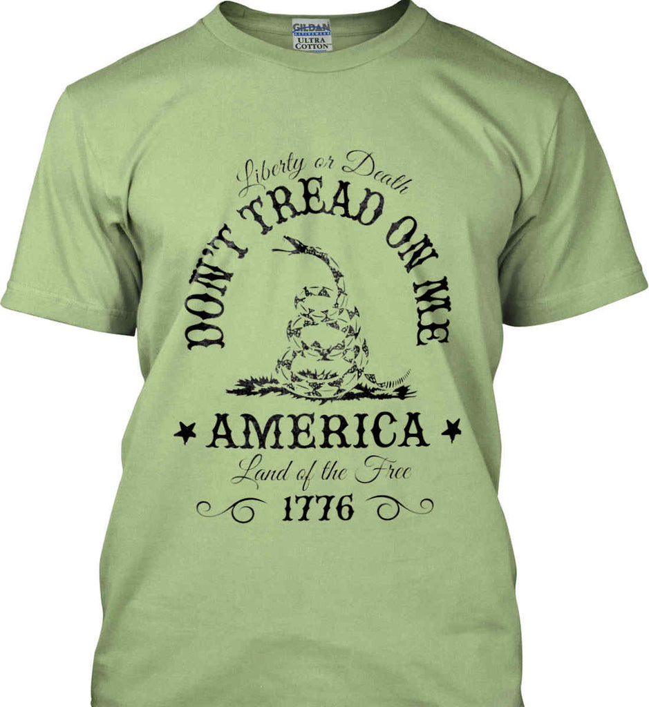 Don't Tread on Me. Liberty or Death. Land of the Free. Black Print. Gildan Ultra Cotton T-Shirt.-7