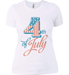 4th of July. Faded Grunge. Women's: Next Level Ladies' Boyfriend (Girly) T-Shirt.