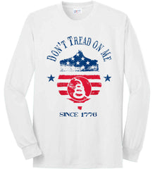 Don't Tread on Me. Snake on Shield. Red, White and Blue. Port & Co. Long Sleeve Shirt. Made in the USA..