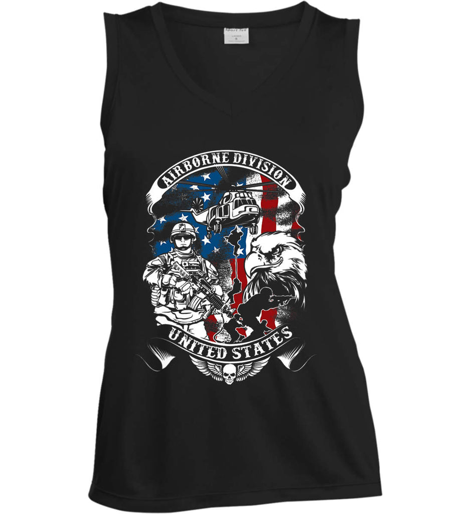Airborne Division. United States. Women's: Sport-Tek Ladies' Sleeveless Moisture Absorbing V-Neck.-1