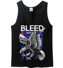 BLEED Red, White & Blue. Eagle on Flag. Gildan 100% Cotton Tank Top.