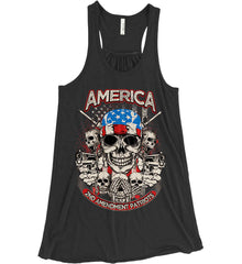America. 2nd Amendment Patriots. Women's: Bella + Canvas Flowy Racerback Tank.